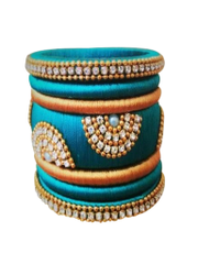 Stunning Sea Blue And Golden Silk Thread Bangle Set