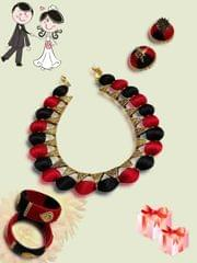 Red And Black Silk Thread Necklace Set With Earrings And Bangles