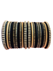 Stunning Golden And Black Silk Thread Bangles Set