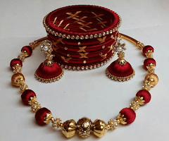 Adorable Merun Silk Thread Necklace Set With Earrings And Bangles