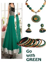 Beautiful Green And Golden Silk Thread Necklace Set With Earrings And Bangles
