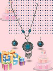Adorable sky blue color german silver set