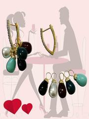Exotic multicolor stone earrings