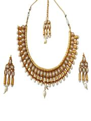 Maharani style golden plated pearl studded set
