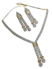 Streamlined shinning american diamond necklace set