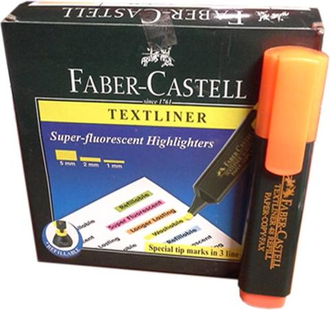 Faber Castell Broad Tip Permanent Dye Textliner  (Set of 10, Orange)