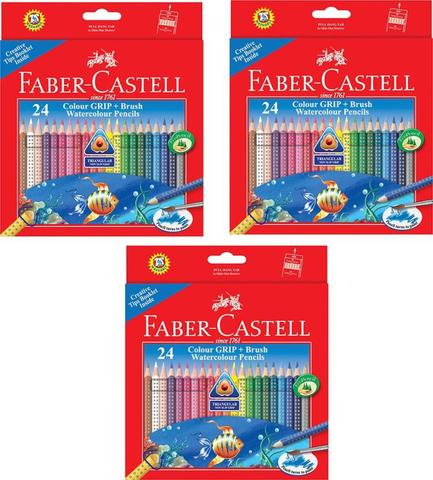 Faber Castell Grip Triangular Shaped Color Pencils  (Set of 3, Multicolour)