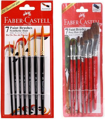 Faber-CAstell Round, Flat Paint Brushes  (Set of 2, Blue, Red)