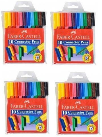Faber-Castell Connector Pens Fine Nib Sketch Pens  (Set of 4, Red)