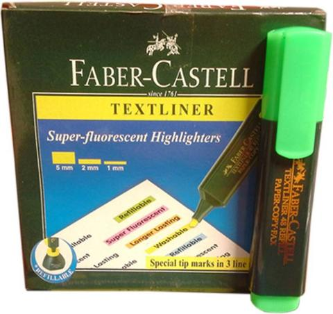 Faber Castell Broad Tip Permanent Dye Textliner  (Set of 10, Green)
