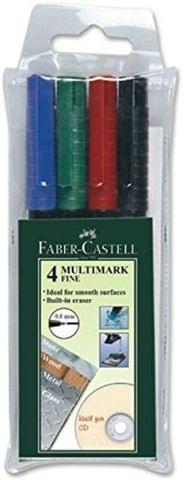Faber Castell Bullet Tip Multi Marker  (Set of 12, Blue, Black, Red, Green)