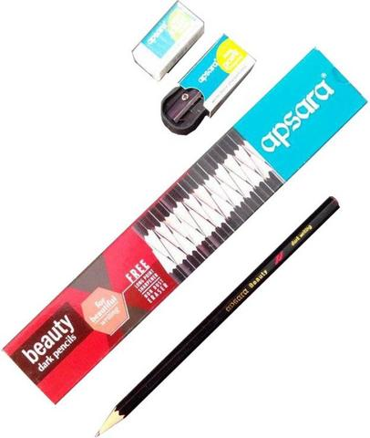 Apsara Beauty Round Shaped Pencils  (Set of 10, Black)