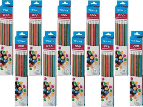 Apsara POP Extra Dark Hexagonal Shaped Pencils  (Set of 10, Multicolor)