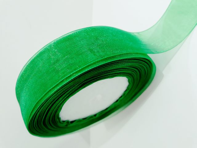 Oasis Organza Ribbon with Satin Edge Green Size :25.4mm X 35Metre.