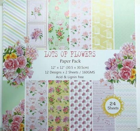 Paper Pack - Lots Of Flowers. 12 X 12 size