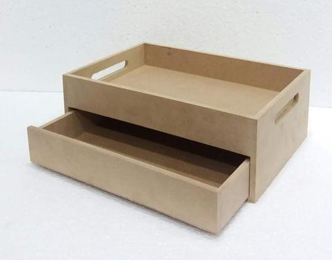 Wooden Tray And Drawer With Handle.