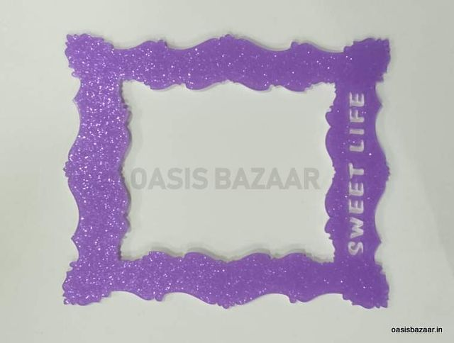 Acrylic Glitter Photo Frame Purple