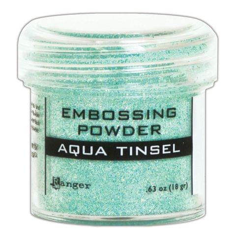 Embossing Powder - Aqua Tinsel