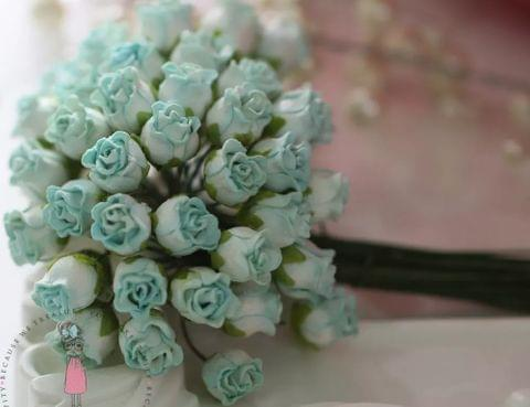 Twisted Rose Buds - Dull Blue