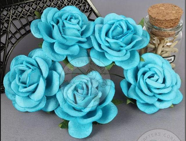 Firozi Blue - Mulberry Curved Roses