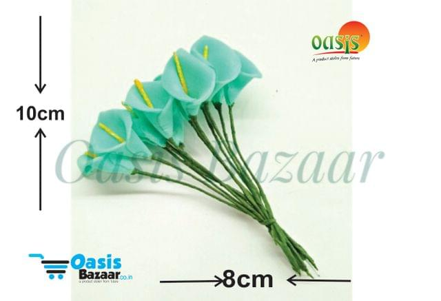 Calla Lily (Foam Fillers) 12 bunches of Packet Aqua Blue in color