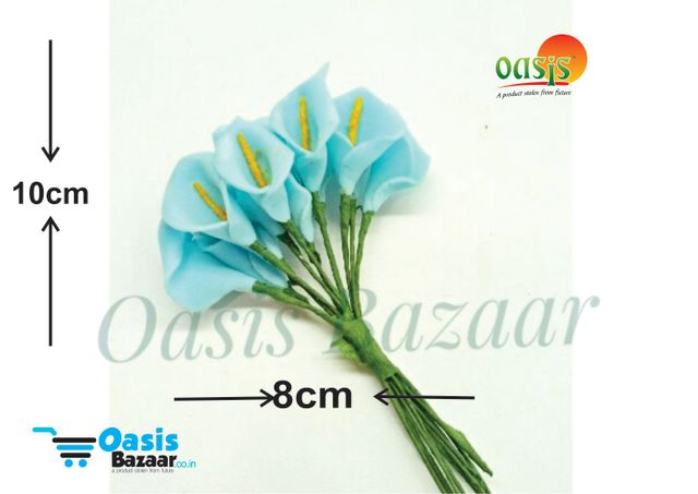 Calla Lily (Foam Fillers) 12 bunches of Packet Light Turkish Blue in color