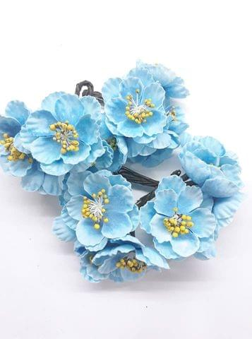 Poppy Rose Flowers Light Blue in Color Pack of 10 Bunches