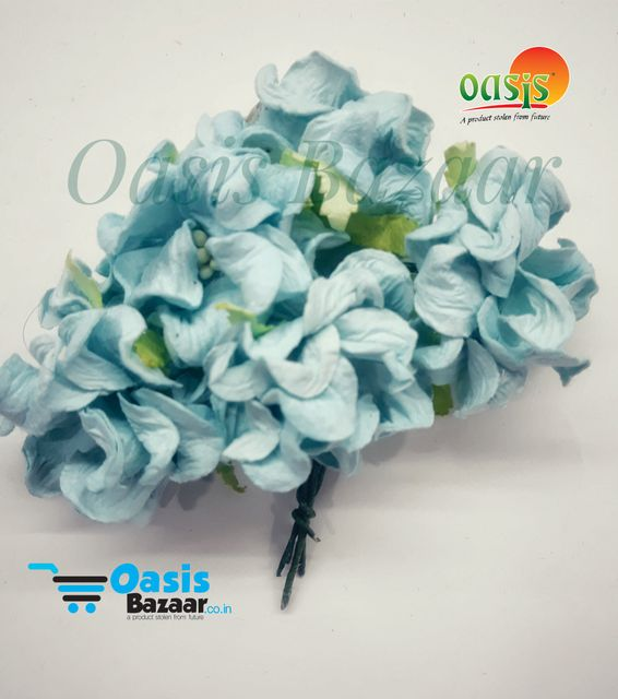 Mulberry Gardenia Flowers Light Blue In Color 5 Bunches in Pack