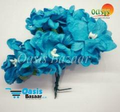 Mulberry Gardenia Flowers Peacock Blue In Color 5 Bunches in Pack