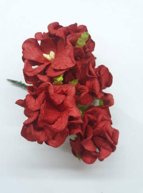 Mulberry Gardenia Flowers Red In Color 5 Bunches in Pack