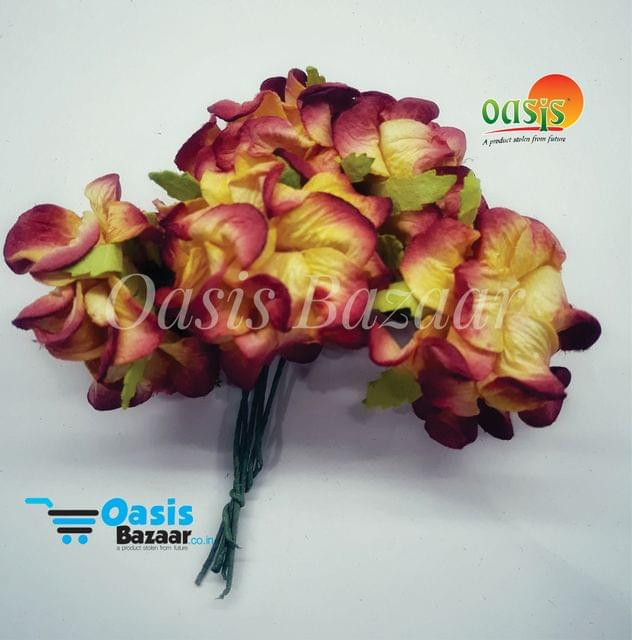 Mulberry Gardenia Flowers Red and Yellow Shaded In Color 5 Bunches in Pack