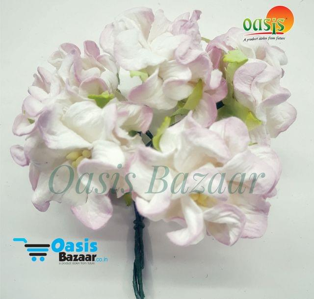 Mulberry Gardenia Flowers White and Pink Shaded In Color 5 Bunches in Pack