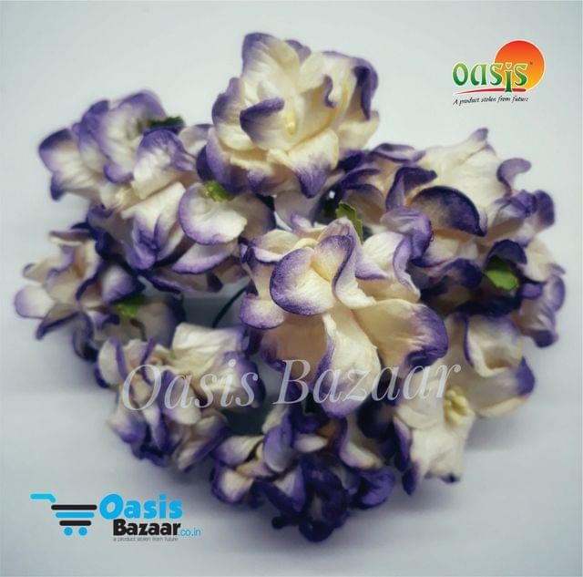 Mulberry Gardenia Flowers White and Violet Shaded In Color 5 Bunches in Pack