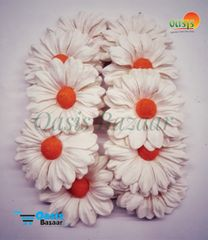 Daisy Sun Flowers Off White with Orange Bead in Color Pack of 25 Flowers.