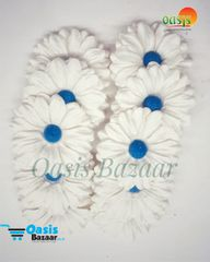 Daisy Sun Flowers Off White with Blue Bead in Color Pack of 25 Flowers.