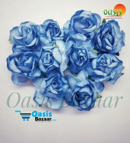 Curly Rose Flowers Aqua Blue in Color Pack of 2 Bunches
