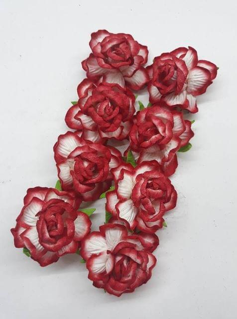Mulberry Rose Flowers Red and Off White Shaded Pack of 8 Flower