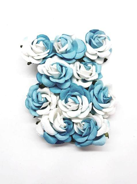 Mulberry Rose Flowers White and Light Blue Shaded Pack of 8 Flower