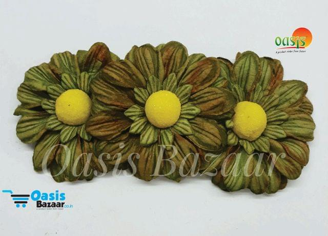 Sun Flowers Color Dark Olive Green And Yellow 07