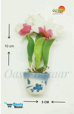 Ceramic Miniature Accessories Pack of Single Flower Pot with Magnet 31