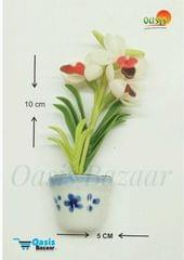 Ceramic Miniature Accessories Pack of Single Flower Pot with Magnet 33