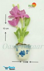 Ceramic Miniature Accessories Pack of Single Flower Pot with Magnet 34
