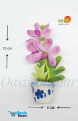 Ceramic Miniature Accessories Pack of Single Flower Pot with Magnet 36