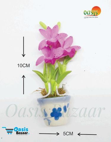 Ceramic Miniature Accessories Pack of Single Flower Pot with Magnet 37