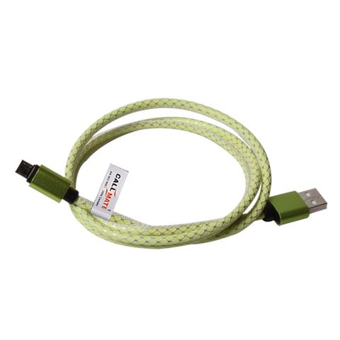 Callmate Leather Fashion Data Cable For Micro USB-Lime