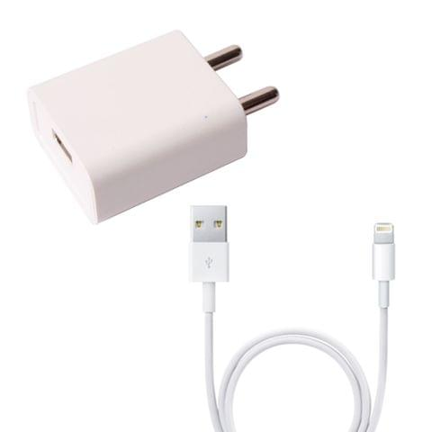 Callmate 2 AMP Fast Charger With iphone USB Cable- White