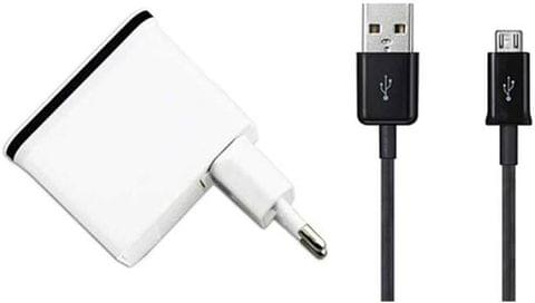 Callmate 10W / 5W Dual USB Wall AC Power Adapter Charger With Micro USB Data & Charging Cable - White