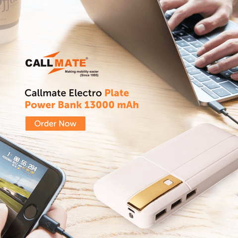 Callmate Electro Plate Power Bank 13000 mAh - Assorted Color
