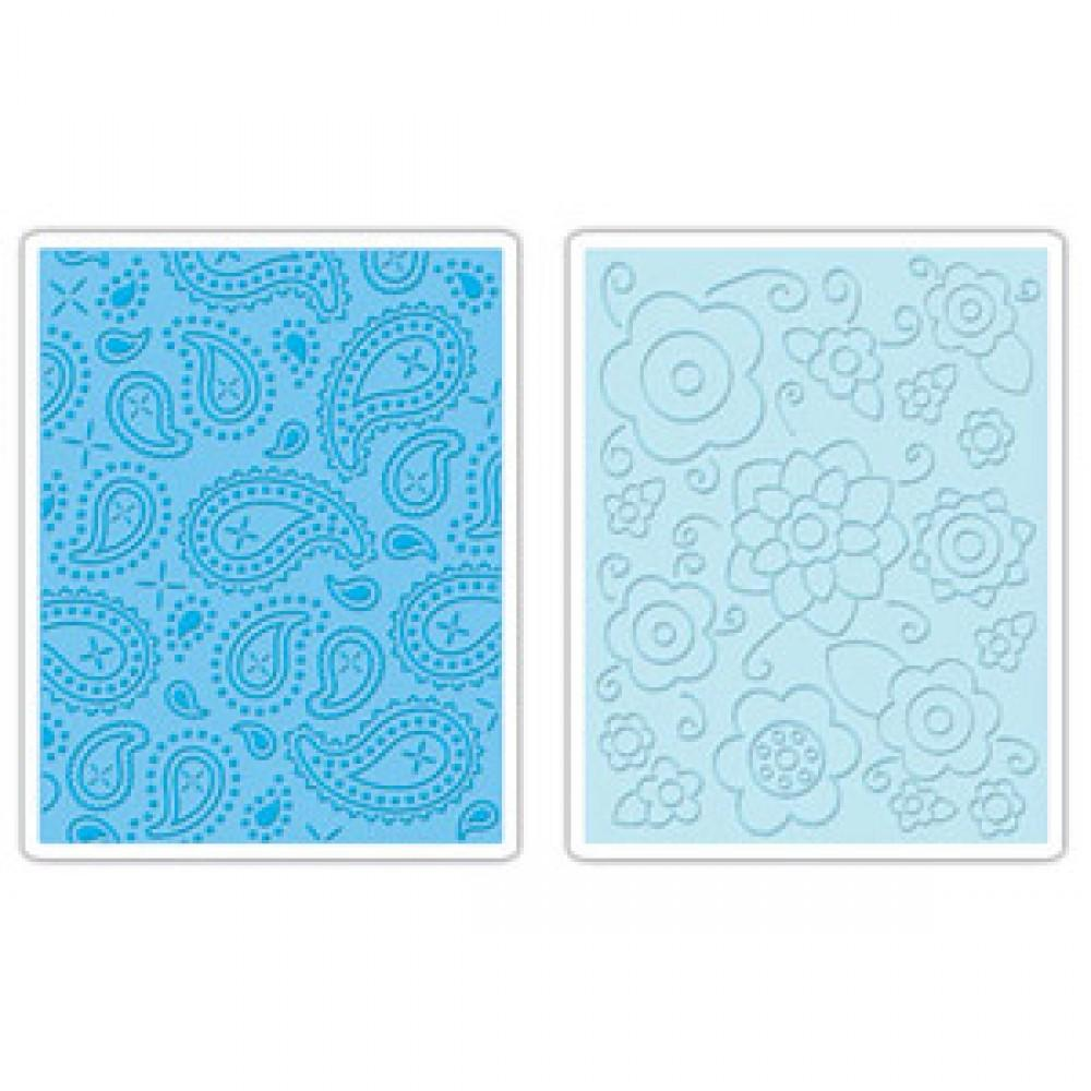 Sizzix Embossing Folders 2PK - Spring Flowers and Paisley Set - 655836