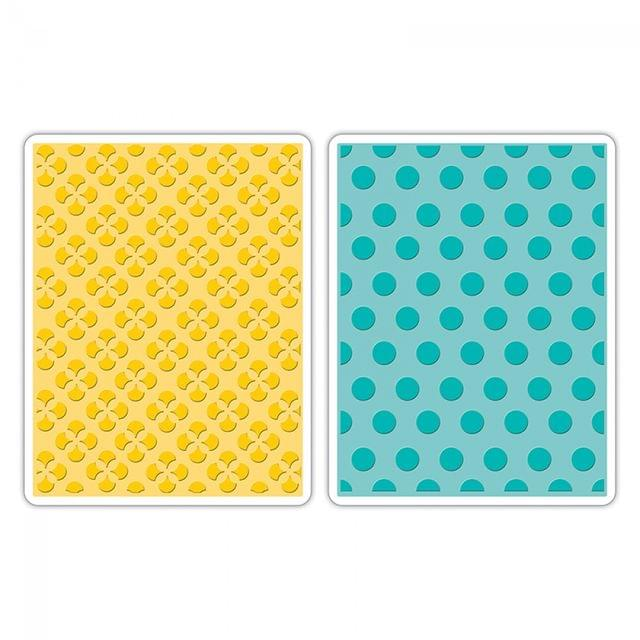 Sizzix Embossing Folders 2PK - Polka Dots & Starflowers Set - 658990